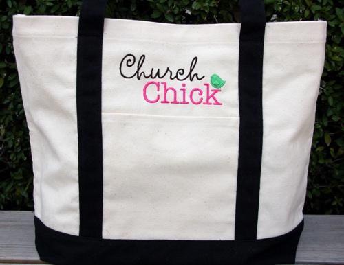 Large Embroidered Tote-Christian Tote, Tote Bag, Ladies tote, Church Tote, Church Chick Tote, Embroidered Tote